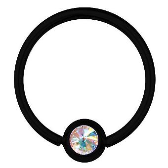 BCR svart Titan Piercing 1,6 mm, SWAROVSKI ELEMENTS Aurora Borealis | 8-16 mm