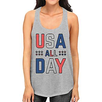 USA All Day Cute Womens Cotton Tank Top Racerback Fourth of July