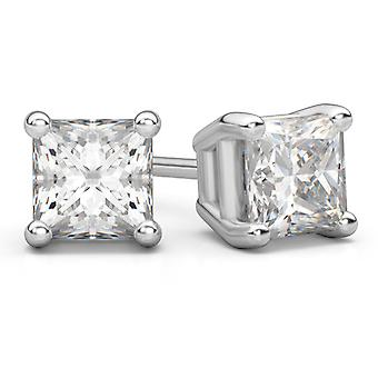 0.66 Carat Princess Cut Diamond Stud Earrings in 14K White Gold