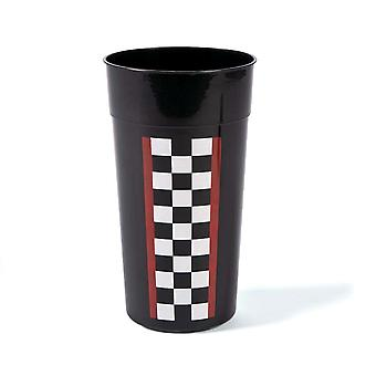 12 Large Plastic Racing Chequered Flag Cups for Parties | Kids Party Cups