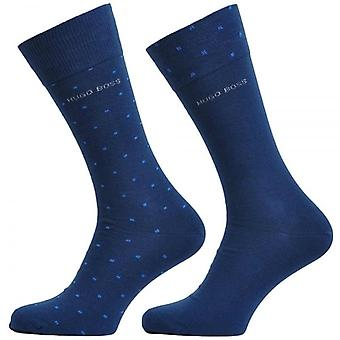HUGO BOSS 2-Pack Cotton Logo Socks, Navy / Pixel Dot, 39/42