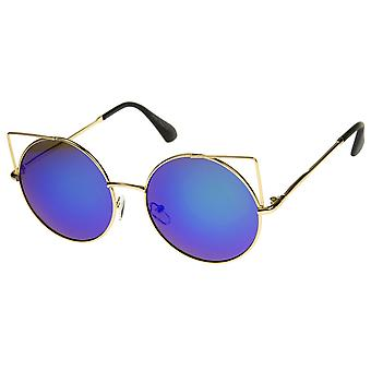Women's Full Metal Cut Out Mirror Flat Lens Round Cat Eye Sunglasses 55mm