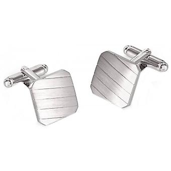 Duncan Walton Hicks Brushed/Polished Rhodium Plated Square Cufflinks - Silver
