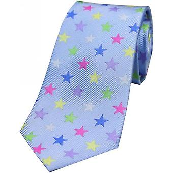 David Van Hagen Star Luxury Silk Tie - Sky Blue