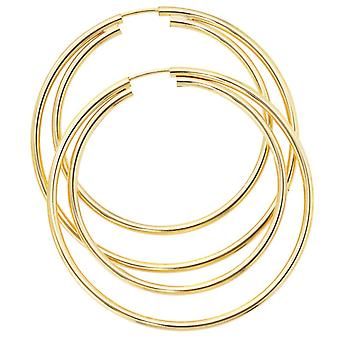 Hoops Doppelcreolen, 333 / - yellow gold, diameter approx. 50 mm, earring ladies