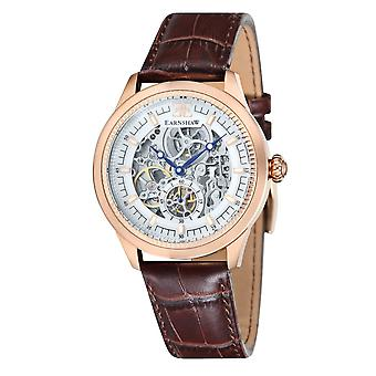 Thomas Earnshaw Es-8039-04 Academy Rose Gold & Brown Leather Automatic Skeleton Men's Watch