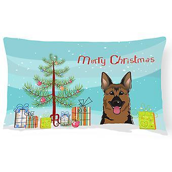 Christmas Tree and German Shepherd Fabric Decorative Pillow