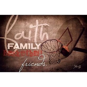 Faith Family Basketball Poster Print by Marla Rae (18 x 12)
