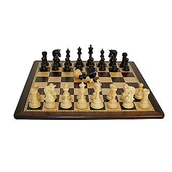Ebony Parthenon Chess Set Ebony Birdseye Maple Board
