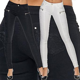 Women's slim jeans trousers skinny tube jeans stretch low waist zip of top sexy tube