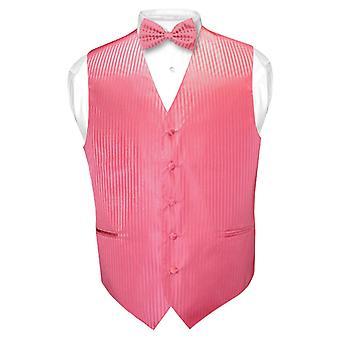 Men's Dress Vest & BOWTie Vertical Striped Design Bow Tie Set