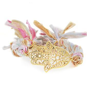 Ettika - Bracelet in yellow gold Hamsa and cotton ribbons braided Multicolor