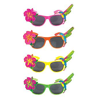 Adult Bright Coloured Tropical Dark Lenses Glasses Fancy Dress Accessory