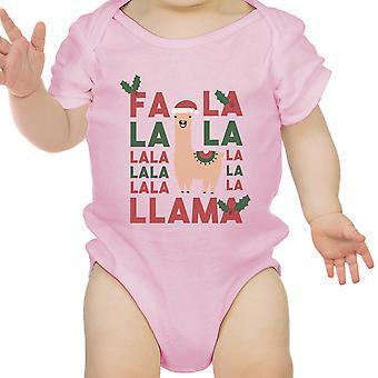 Falala Llama First Christmas Infant Bodysuit Gift Pink For Baby Girl