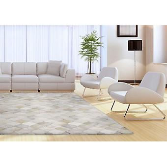 Madisons Multi-Tone White Geometric Cowhide Area Rug