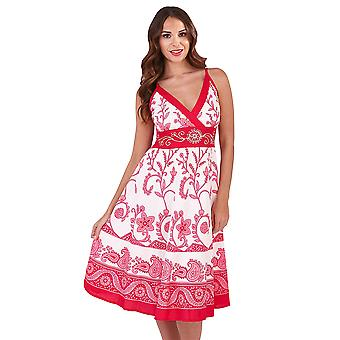 Martildo, Womens Crossover Band Summer Holiday Short Dress with Straps, Mali Pink