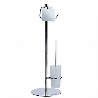 Outline Freestanding Toilet Roll Holder With Lid And Toilet Brush With Frosted Glass Container - Polished Chrome FK302