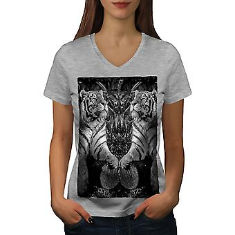 Tiger Wild Beast Women GreyV-Neck T-shirt | Wellcoda