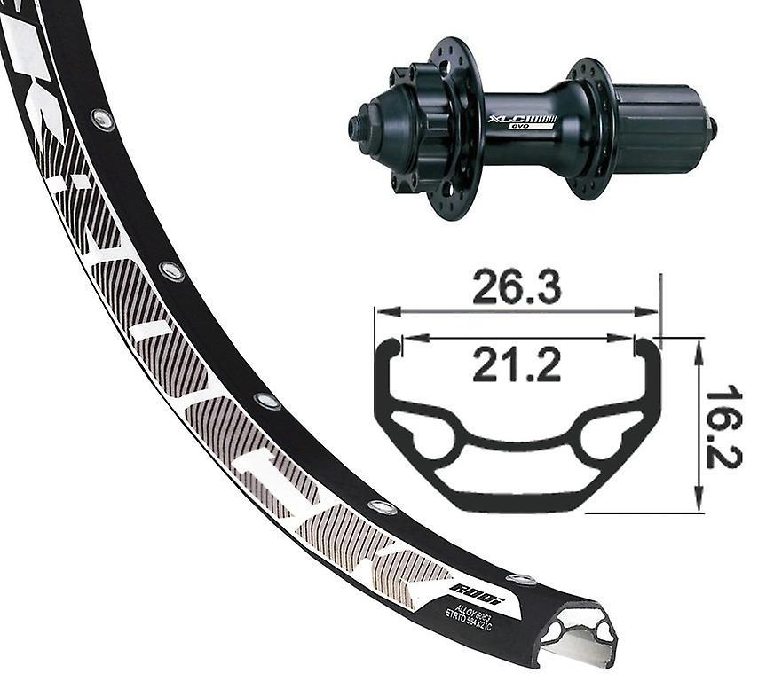 XLC 27, & 034;5& 034; disque de roue arrière Rodi noir Rock + XLC Evo 6 trous 8-10 fois