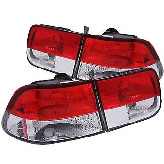 AnzoUSA 221222 Red/Clear Taillight for Honda Civic - (Sold in Pairs)