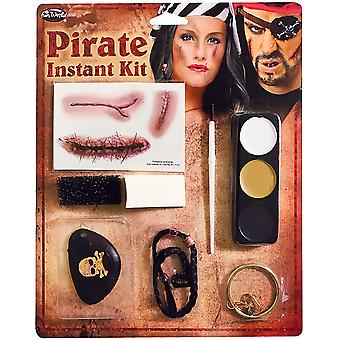 Halloween Pirate Instant Fancy Dress Make Up Kit with Tattoo, Braid & Eye Patch