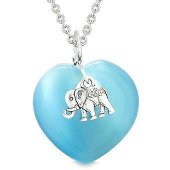 Lucky Elefant Charm Amulett geschwollene Zauberkräften Herz himmelblau simulierten Katzen Auge Anhänger Halskette