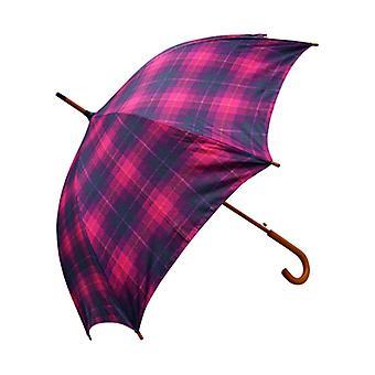 Tweed Check Print Kirschrot gerade Regenschirm