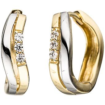 Orecchini cerchi 333 oro giallo oro bicolore con zirconi oro Orecchini Goldcreolen