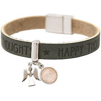 -Armband - bescherming - 925 zilver - wensen - antraciet - grijs - roze - Rose Quartz - magnetische sluiting