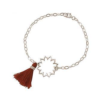 925 zilver - mandala - kwast - armband - rood - bruin - YOGA