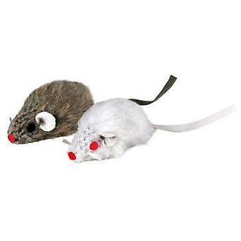 Trixie Mouse Plush Rattle With 5 Inch, 2 Units, Bl. / Gray (Cats , Toys , Mice)