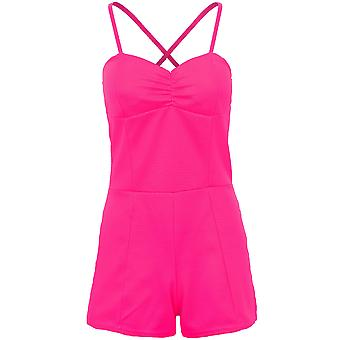 Ladies Strappy Cross Back Textured Padded Gathered Party Women's Playsuit