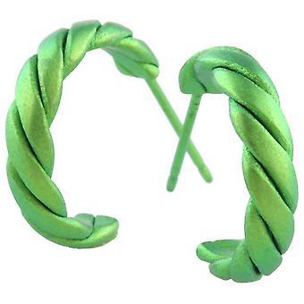 Ti2 Titanium Medium Twisted Hoop Earrings - Fresh Green