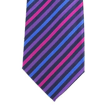 Knightsbridge Neckwear Diagonal Multi Striped Silk Tie - Purple/Blue/Fuchsia
