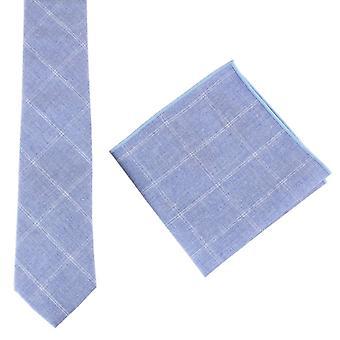 Knightsbridge Neckwear coton cravate et mouchoir de poche Set - bleu clair