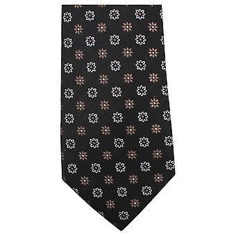 Knightsbridge Neckwear Small Flower Tie - Black/Brown