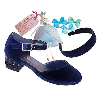 Girls deep blue velvet and glitter heeled shoes and accessories gift set