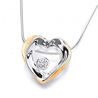 Cavendish Frans moderne goud Vermeil en zilveren hart Drop hanger zonder ketting