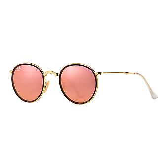 Ray - Ban Round Metal folding gold mirrored Rose Brown