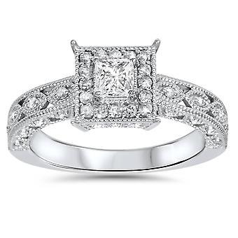 5 / 8ct prinsesse Cut Vintage Halo diamant Engagement Ring 14K hvidguld
