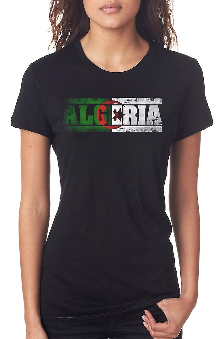 Algerian Algeria Flag - Words Ladies T Shirt