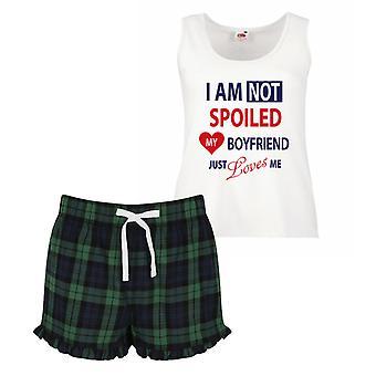 I'm Not Spoiled My Boyfriend Just Loves Me Pyjamas Ladies Tartan Frill Short