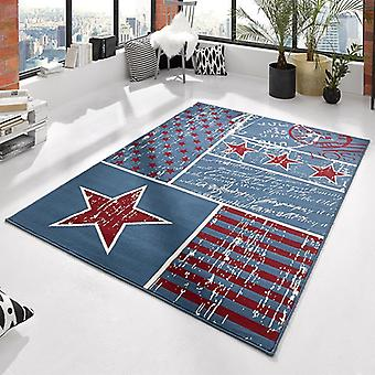 Design velour carpet Patchwork Stars Blau red 140 x 200 cm | 102398