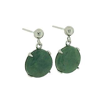 TOC Natural Jadeite Round Drop Sterling Silver Earrings