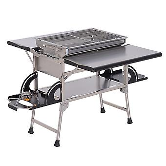 Outsunny Outdoor Picnic Kitchen Gas Burner BBQ Charcoal Grill Camp Table Foldable