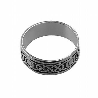 Silver oxidized 8mm Celtic Wedding Ring Size Z+1