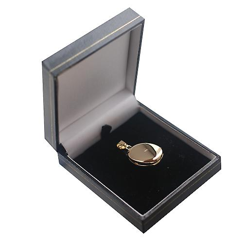 9ct Gold 26x19mm plain oval cameo Locket