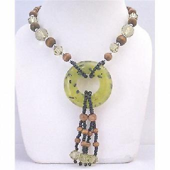 Jade Round Pendant Drop Down Long Necklace Acrylic Glass Beads Jewelry