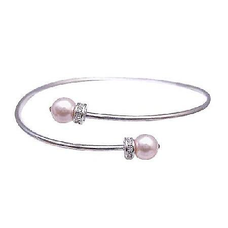 Swarovski Rose Pearls Silver Cuff Comfortable Bracelet Diamante Spacer