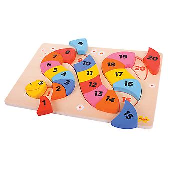 Bigjigs Toys Wooden Educational Snake Counting Puzzle Learn Count Numbers